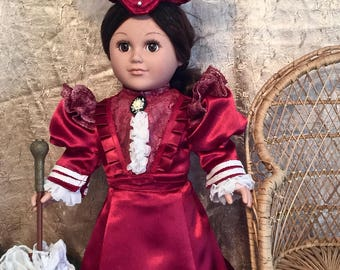 18 inch doll clothes. 1896 historically inspired Victorian doll jacket, doll blouse, doll skirt, doll shoes, doll petticoat, doll hat.