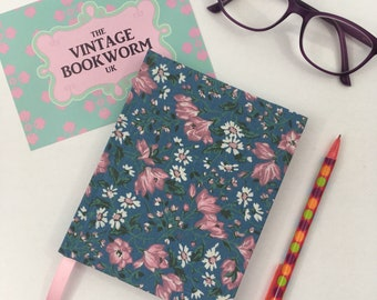 A6 Sketchbook Hand Covered in a Vintage Floral Fabric in Pinks, Cornflower blues and lilacs