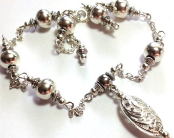 Anklet, Ankle Bracelet,Filigree Bead, ANY SIZE Length, Silver Tone (MTO)