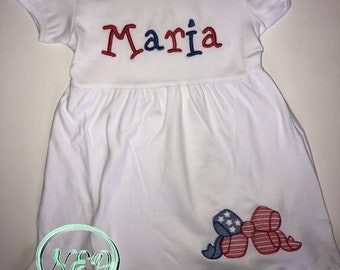 Girl's Red, White and Blue Embroidered Dress