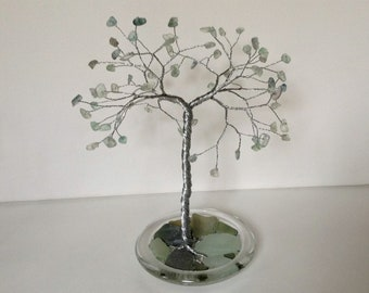 Sea Glass Sculpture. Wire Tree Art. Fluorite Gemstone Tree. Large Silver and Green Sculpture Tree of Life Ornament Green and Blue Glass