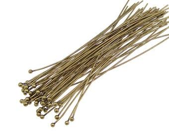 """48 BALL HEADPINS 3"""" Antique Brass Headpin Findings 21 Gauge Ball Pins 21g 21 g Tall Long Bronze Headpins Head Pins Brass Findings"""