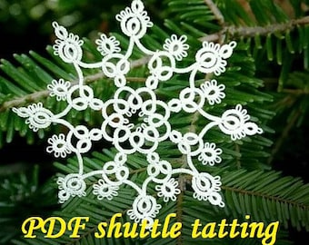 "Snowflake ""INGA'PDF Original Shuttle Tatting Pattern. Instant Digital Download. Tatting yourself. xmas gift. schemat frywolitki."