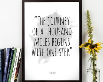 The journey (...) , Lao Tzu quote, Lao Tzu Watercolor Poster, Motivational quote, Inspirational quote, Lao Tzu Watercolor art.