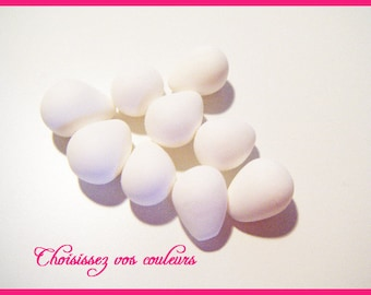 Set of 9 small Easter egg white Fimo polymer