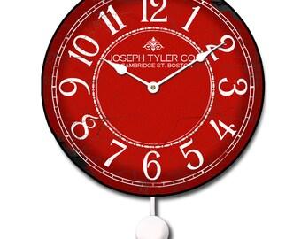 Red & White Pendulum Wall Clock