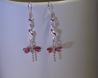 Sterling Silver Dragonfly Earrings - Sterling SIlver Ear Wires - Swarovski Crystal - Shown in Purple - 3 colors Available