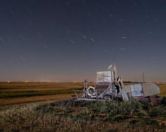 Farm Combine, Abandoned Farm Machine, Rural Landscape, Case Combine, Great Plains, Night Photograph