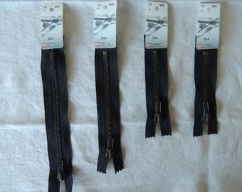 Brass zipper not separable special 12 cm black denim