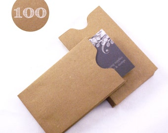 Set of 100 Recycled Kraft Brown Gift Card or Business Card Sleeves - mini envelopes - 2-1/4 x 3-5/8