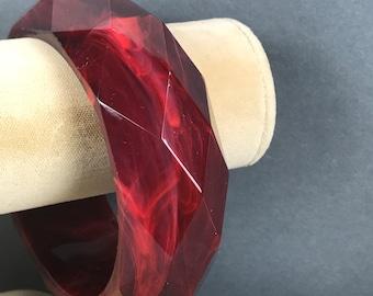 Vintage Maroon Red Bangle Bracelet