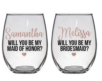 Bridesmaid proposal gift, Will you be my bridesmaid?Asking Bridesmaids, Will you be my bridesmaid wine glass