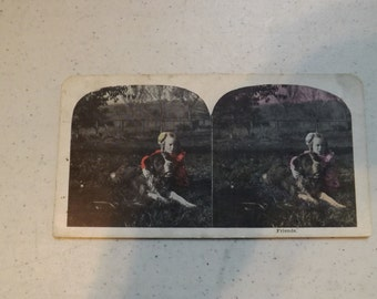 """Vintage Stereo Optic Card A Girl and Her Dog Called """"Friends"""""""