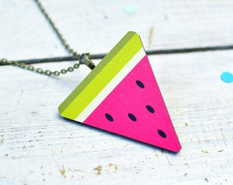 Watermelon Necklace Gifts For Her | Colourful Fruit Necklace | Nickel Free for Sensitive Skin | Kawaii Watermelon Gifts