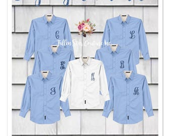 BUY 6 or more, get one FREE , Bridesmaid oxford shirts, monogrammed oxford shirts, getting ready shirts, bridesmaid shirts , Oversized Shirt