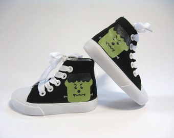 Frankenstein Shoes, Halloween Costume or Outfit, Monster Black Hi Top Sneakers, Hand Painted for Baby or Toddlers