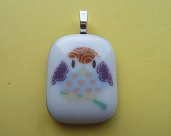 Fused Glass Picture Pendant Grumpy Owl  Print Handmade on Grey Base