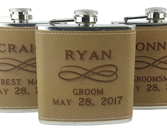 Set of 9 Flasks, Personalized Flask, Faux Leather Flask, Groomsmen Flask, Gift Set, Wedding Party Gift,  Hip Flask, Groomsman Gift Set