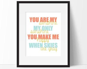 You Are My Sunshine Nursery Decor, Baby Girl Nursery Decor, Baby Boy Nursery Wall Art, Lullaby Art Prints