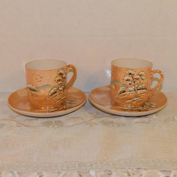 Takito Japan Cup & Saucer Sets Vintage 2 pair Lusterware TT Cups Saucers Small Teacup Saucer Asian Scene Demitasse Porcelain Pair Cup Saucer