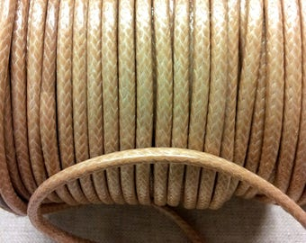 2 meters of yarn - beige waxed polyester cord - 4 mm
