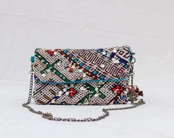 Marrakech Kilim Clutch Bag Purse Handmade Bohemian Shoulder Bag Boho Sequins Evening Bag Rug Bag Handira bag