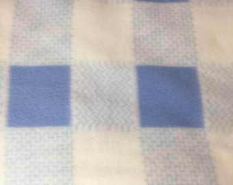 "FLEECE FABRIC Blue and White Check 1 Yard Plus 18"", 65"" Wide"