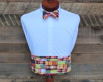Mens Cummerbund Set~Patchwork Cummerbund~Patchwork Madras Bow Tie~Mens Formal Wear~Mens Bow Tie~Self Tie Bow Tie~Wedding~Mens Gift~Groomsmen