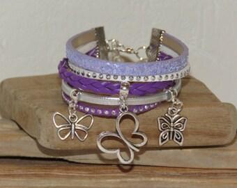 "Cuff Bracelet, MULTISTRAND, purple, lilac, silver, leather, suede, glitter, for teens ""BUTTERFLIES"", pimprenellecreations"