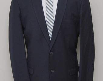 1960s men's solid blue wool blazer/ 60s men's blue blazer/ Jack Stark & Son