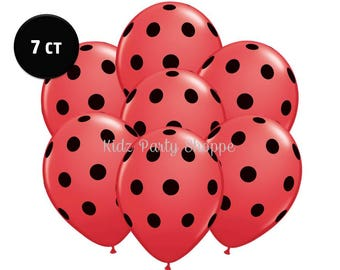 "Red & Black Polka Dot Ladybug Balloons [7ct] 11"" Printed Latex Birthday Party Shower Decorations Photo Props Supplies Supply"