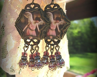 Angels, Earrings, Beaded, Handmade, Accessories, Shabby Chic