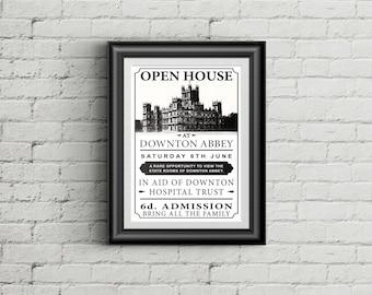 Downton Abbey Open House Poster as seen in Season 6 Episode 6 (sized 11x17)