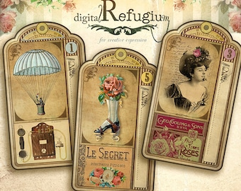 Steampunk Tags,Digital Collage Sheet, printable, note, Instant Download,printable images,