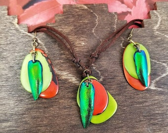 Boho Entomology Jewelry Set – Jewel Beetle Wing Earrings – Bohemian Orange and Green Dangle Drop Earrings – Sustainable Tagua  Necklace