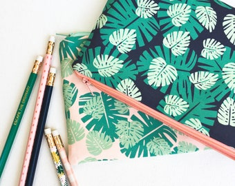 College Student Gift, School Supplies, Zipper Pouch, Pencil Pouch, Pencil Case, Monstera, Makeup Bag, Makeup Storage, Purse Organizer