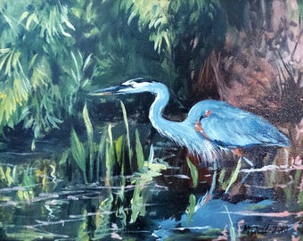 Wading Heron - 8 x 10 inch original oil painting of a great blue heron by Martha Dodd