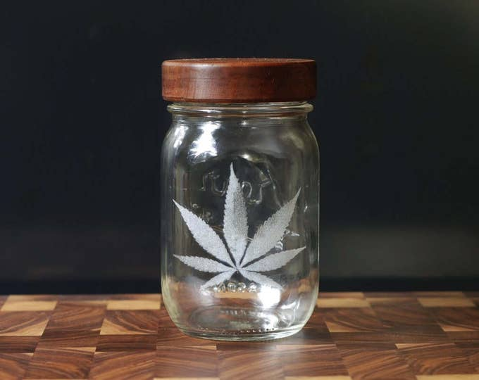 Stash Jar - One Pint - Beautifully Engraved - Custom Sealed  Lid