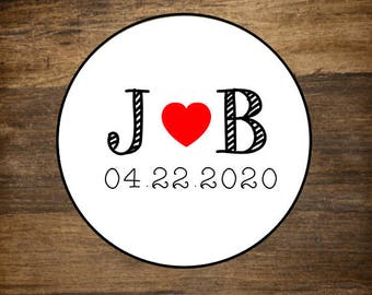 """Personalized wedding stickers, custom favor labels, 1.5"""" round stickers, set of 30, Matte white or Kraft brown, custom initials and heart"""