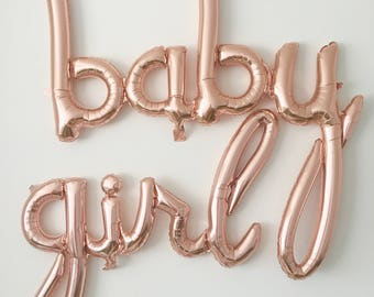 Baby Girl Balloons Rose Gold Baby Girl Balloons Baby Girl Banner Girl Baby Shower Balloons Pregnancy Announcement Gender Reveal Its a Girl