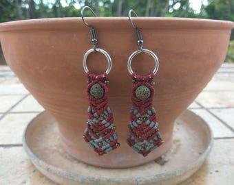 Macrame Red Gray Earrings