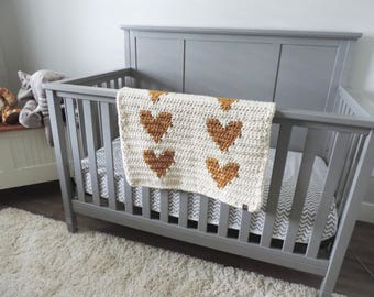 PICK YOUR COLORS - Heart Baby Blanket, Heart Stroller Blanket, Heart Crib Blanket, Heart Bassinet Blanket