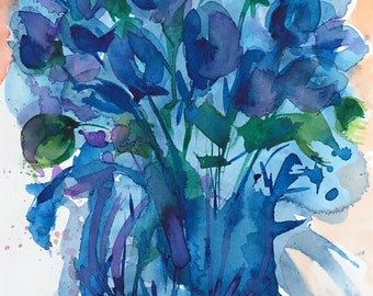 Blue florals, original watercolor painting by Lara Mitchell