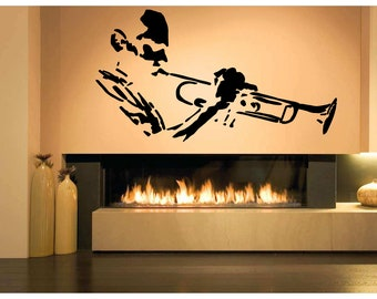 Wall Decal Sticker Jazz Man Band Drum Tuba Saxophone Acoustic Guitar Punk Rock Alternative Music Melody Band Dj Composer Notes Piano ZX538
