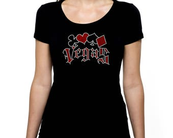 Las Vegas Suits RHINESTONE t-shirt tank top  - S M L XL 2XL - Cards Suits Clubs Hearts Spaces Diamonds Gambling Video Poker Las Casino Bling