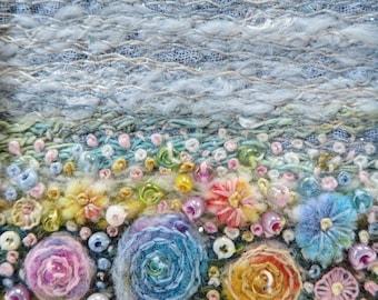 "Beaded & embroidered felt flowers fibre art card - handmade 4.75"" square needlework art card - miniature embroidered landscape for framing"