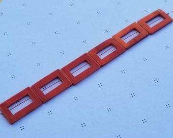 Orange Mother of Pearl Rectangle Donut Beads