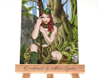 Green Fairy Irish Leprechaun Fantasy Ginger Hair ACEO ATC Art Card