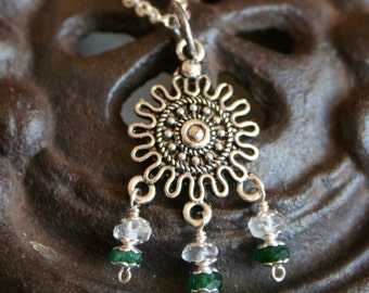 Mandala Fertility Pendant -  Moonstone and Aventurine Pendant