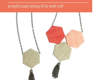 Violet Craft The Hexagon Market Necklace Fabric Pattern Quilting Sewing